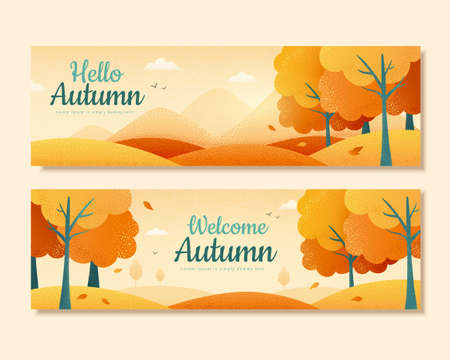 Set of autumn banners, with beautiful forest scenes in gradient design, perfect for cover, event promotion, and greeting card Illustration