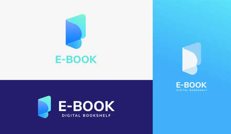 Open book logo set, concept of e book, digital library and online education