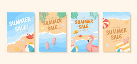 Summer sale brochure in pastel tone, concept of beach vacation, cover template for flyer, poster and web banner ad use