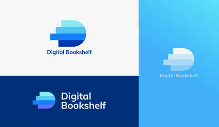 Letter D logo with book pile design, concept of digital library, e-book, and online education Illustration