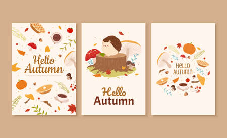 Set of cute autumn forest illustration in hand drawn design, perfect for cover, event promotion, and greeting card Illustration