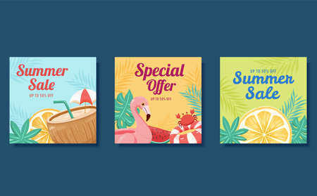 Square web banner template for summer sale, designed in hand drawn style, concept of beach vacation