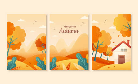 Set of autumn illustration, with beautiful forest scenes in gradient design, perfect for cover, event promotion, and greeting card