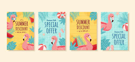 Summer sale brochure in flat design, concept of swimming pool, cover template for flyer, poster and web banner ad use