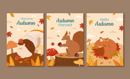 Set of autumn illustration, designed with cute forest animals in hand drawn style, perfect for cover, event promotion, and greeting card