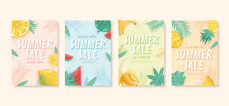 Summer sale brochure in pastel tone, concept of tropical fruit, cover template for flyer, poster and web banner ad use