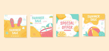 Square web banner template for summer sale, designed in pastel tone, concept of beach vacation Illustration