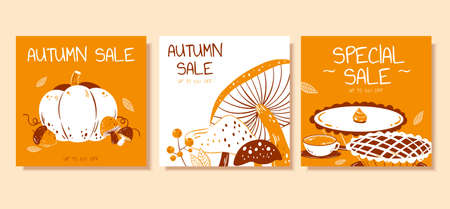 Cute pumpkin, mushroom and pie illustration in hand drawn design, concept of autumn hygge, perfect for sale promotion and web square banner Illustration