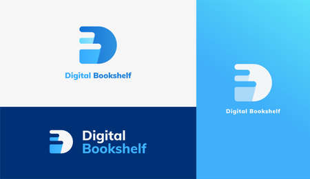 Book pile logo set, concept of e book, digital library and online education Illustration