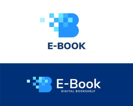 Letter B logo design with blue tone square, concept of e-book, digital library and online education