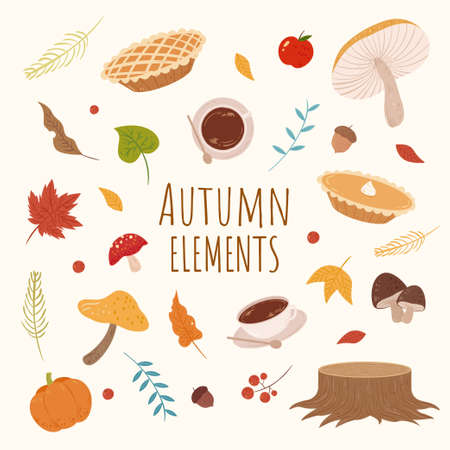 Set of autumn elements in cute hand drawn design, isolated on yellow background, perfect for card decoration Illustration
