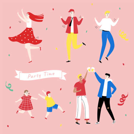 Colorful doodle of people partying on pink background with confetti