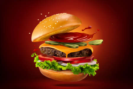 Closeup of homemade hamburger with splashing ketchup, isolated on red black background, 3d illustration