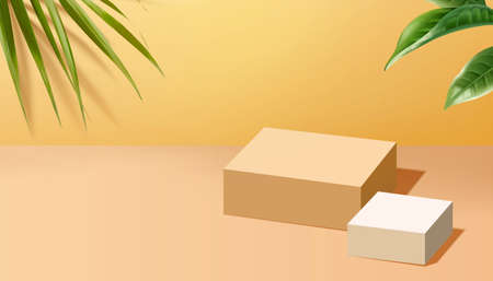 Square podiums with plants for displaying products in 3d illustration Stock fotó - 155397536