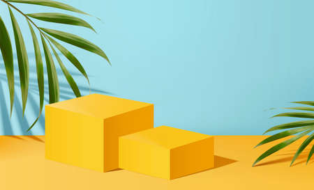 Advertisement template with yellow square stage and palm leaves in 3d illustration