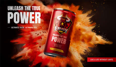 Energy drink ad design on exploding powder effect background in 3d illustration Stock fotó - 155397675