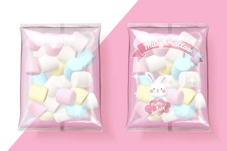 Marshmallow packets on pink and white background in 3d illustration