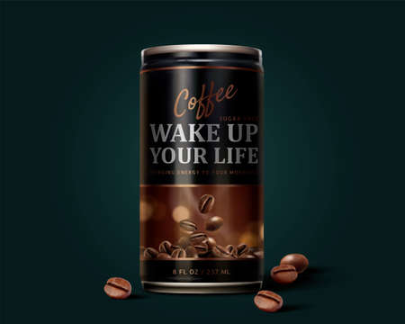 Sugar free black coffee can design in 3d illustration with roasted coffee beans elements on dark green background Stock fotó - 155397920