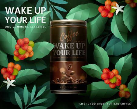 Sugar free black coffee ad design in 3d illustration surrounded by paper art ripe red coffee cherries on a coffee plant