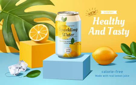 Sparkling water advertisement with lemons and ice cubes in 3d illustration