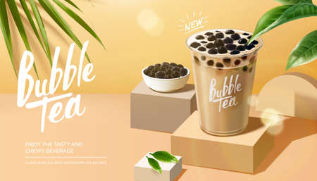 Bubble milk tea advertisement with leaves elements on summer background in 3d illustration Stock fotó - 155398015
