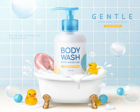 Body wash ad in 3d illustration, body wash product in a small bathtub with toys in bathroom Stock fotó - 155398103