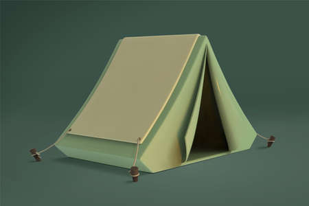 Small camping tent element in 3d illustration over green background