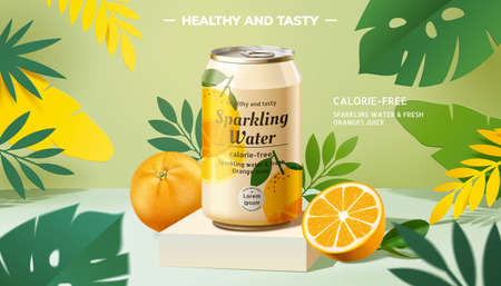 Sparkling water promo banner with lemons on tropical background in 3d illustration