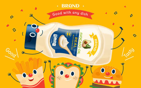 Real mayonnaise bottle lifted by cartoon french fries, sandwich and burger, 3d illustration