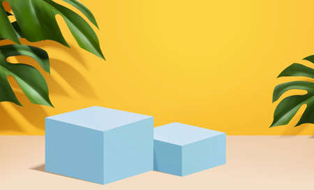 Blue colored podiums on tropical color background in 3d illustration