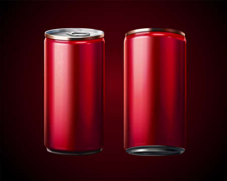 3D rendering of blank aluminium soda cans on red background Illustration