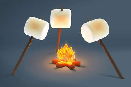 Roasting of marshmallows on bonfire in evening on grey background in 3d illustration