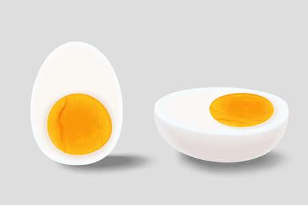 Set of sliced hard boiled eggs on grey background, 3d illustration