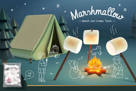 Marshmallow advertisement banner in 3d illustration with kids roasting marshmallows on bonfire outside tent on camping site.