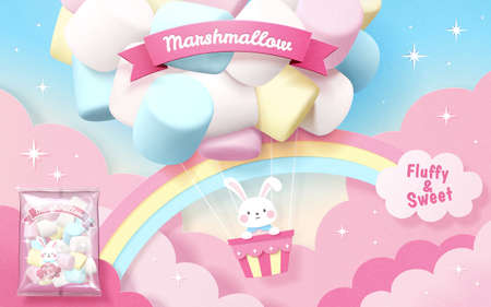 Marshmallow ad in 3d illustration with bunny flying in colorful marshmallow balloon with rainbow in sky Stock fotó - 155399862