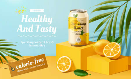 Sparkling water advertisement with lemons and palm leaves elements in 3d illustration Stock fotó - 155399881