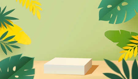 White color podium to display produce with leaves elements in 3d illustration Stock fotó - 155399883