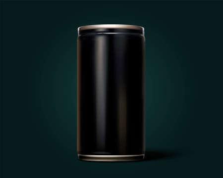 3D rendering of blank aluminium can on dark green background Illustration