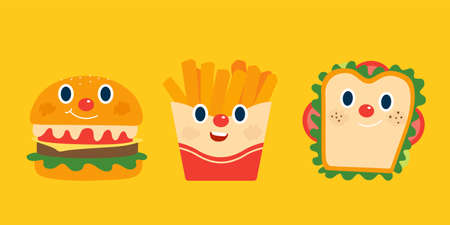 Illustration of cute breakfast food isolated on yellow background, including burger, french fries and sandwich Illustration