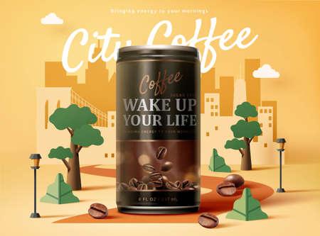 Sugar free black coffee ad design in 3d illustration over an urban city paper art design background