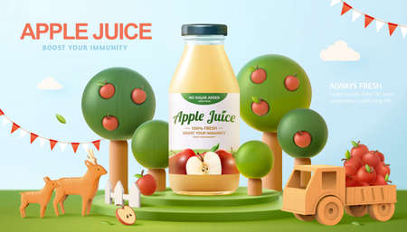 Fresh apple juice ad in 3d illustration, realistic bottle on a stage with apple trees around with wooden deer and a small truck filled with ripe apples Ilustracja