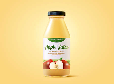 Fresh apple juice ad mockup in 3d illustration, realistic bottle isolated on yellow background