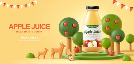 Fresh apple juice ad in 3d illustration, realistic bottle with apple trees around and wooden toy deer over a yellow background