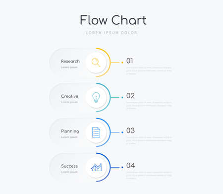 Flow chart infographic template with four options Ilustracja