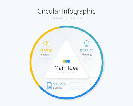 Circular infographic template for business presentation with three options