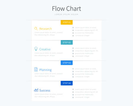 Flow chart infographic template with simple design and four options used for business presentation