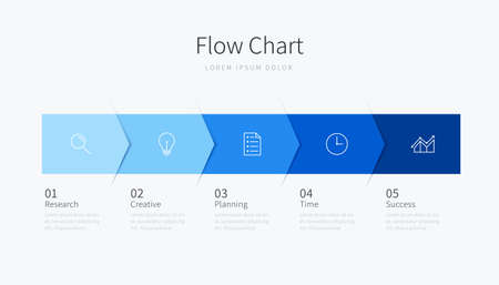 Flow chart infographic design for business presentation with five step options and icons Ilustracja