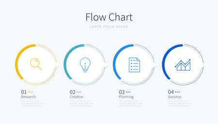 Flow chart infographic template with design elements and icons