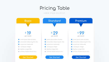 Pricing table infographic design with option banner vector template