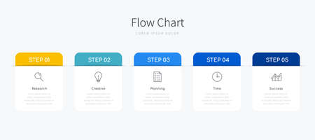 Infographic flow chart for business presentation with five step options and icons Ilustracja